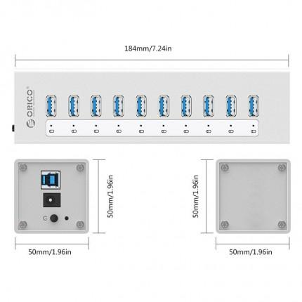 هاب فلزی 10 پورت A3H10-V1 USB 3.0 ORICO