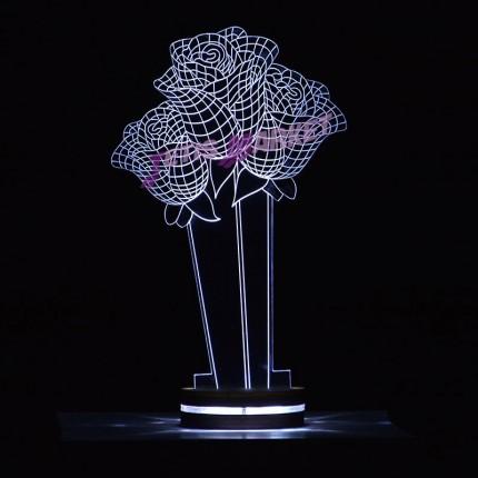 چراغ خواب سه بعدی گل رز