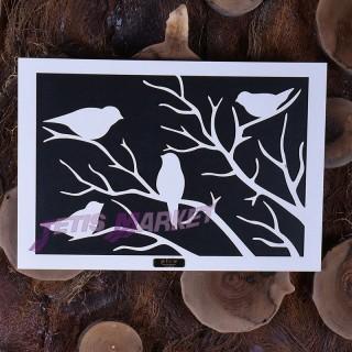 تابلو چهار پرنده دکوری چوبی