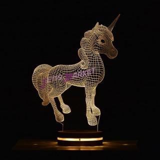 چراغ خواب سه بعدی اسب تک شاخ