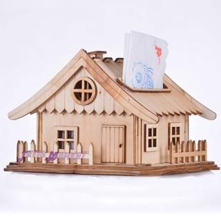 جعبه دستمال کلبه چوبی بزرگ توسکا