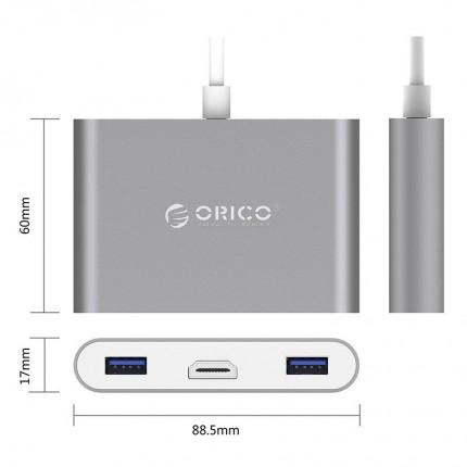 هاب 3 پورت Type-C با HDMI RCH3A