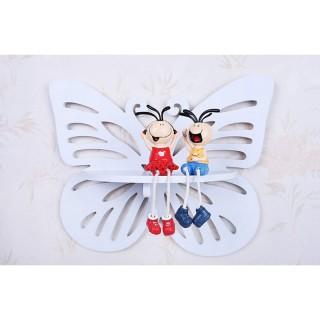 شلف دیواری اتاق کودک پروانه ساده