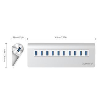 هاب 10 پورت USB3.0 آلومینیومی M3H10 ORICO