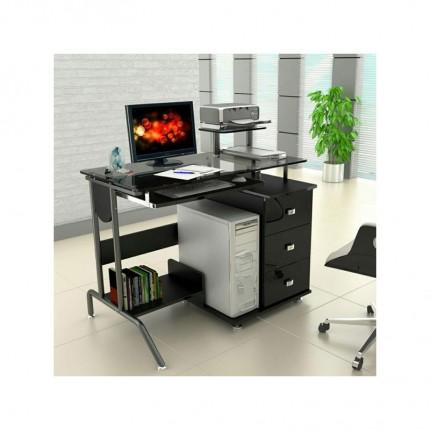 میز کامپیوتر کشو دار شیشه ای 1105G