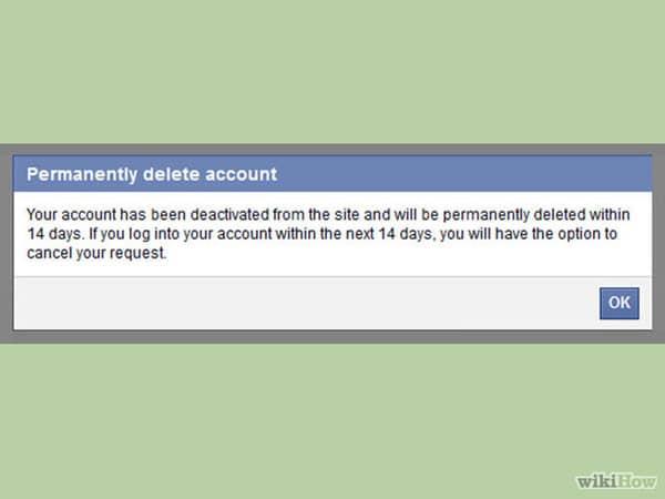 حذف اکانت FaceBook