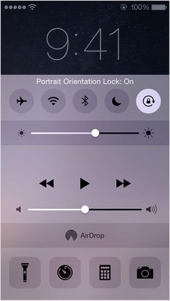 قفل چرخش صفحه آیفون
