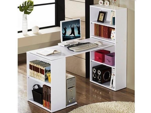 میز کامپیوتر با قفسه کتاب