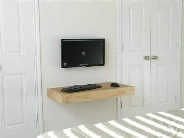 میز کامپیوتر دیواری چوبی